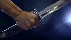 Japanese katana sword. Blade close-up Stock Footage