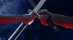 Japanese samurai warriors fighting with swords. Blade close-up Arkistovideo
