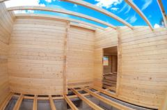 Construction of a new wooden house. Inside view Stock Photos
