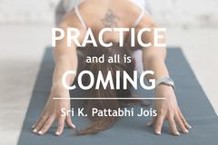 Practice and all is coming. Sri K. Pattabhi Jois Stock Photos