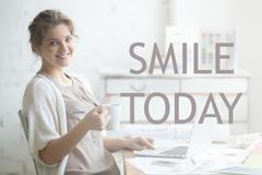 Smile today. Motivational image Stock Photos