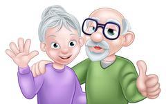Cartoon Senior Couple Stock Illustration