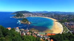 Aerial view of San Sebastian, Spain Stock Footage
