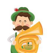 Bavarian musician icon Stock Illustration