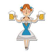 Bavarian woman with beer icon Stock Illustration
