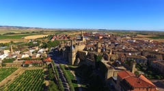 Aerial view of Olite, Spain Stock Footage