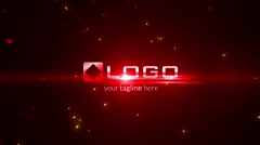 Red Fire Light Streak Particles Explosion Business Logo Reveal Dark Intro Stock After Effects