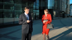 Businessman rejecting businesswoman offer Stock Footage