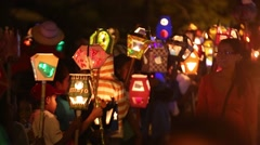Panama light parade with fire torch in foreground Stock Footage