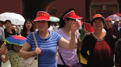 Chinese tourists visit Gugun palace in Beijing, China. Stock Footage