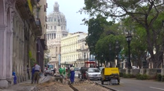 Road work along a street in the old city of Havana, Cuba. Stock Footage