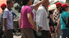 People walk in canal side in the Gugun palace in Beijing, China. Stock Footage
