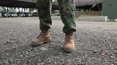 Boots of standing military officer Stock Footage
