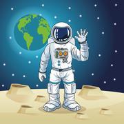 Astronaut space cartoon design Stock Illustration