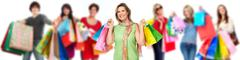 Group of happy shopping customers. Stock Photos