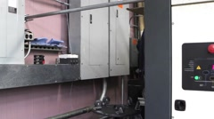 Purple wall corner warehouse Stock Footage