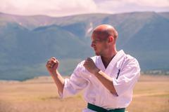 Combat karate rack in the mountains Stock Photos
