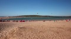 Lagoa Albufeira beach - Sesimbra, Portugal Stock Footage
