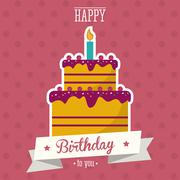 Cake happy birthday design Stock Illustration