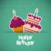 Muffin happy birthday design Stock Illustration