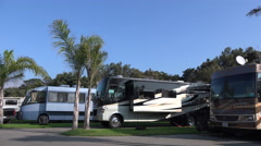 Trailers on RV campground Stock Footage