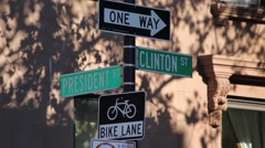 Intersection Of President And Clinton In 2016 Stock Footage