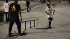 Skateboarder Moves Uphill toward Camera Stock Footage