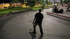 Teen Boy on Skateboard Stock Footage