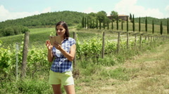 Happy woman standing next to the vineyard and doing selfies on smartphone, stead Stock Footage