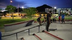 Teen Boy Attempts Ollie on Skateboard Stock Footage