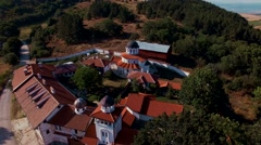 Eastern orthodox Church Christian temple in the mountains Stock Footage