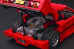 Open trunk of Lego Creator Expert Ferrari F40 car Stock Photos