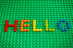 Word Hello spell out from Lego Round Bricks Stock Photos