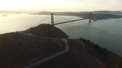 Sunset aerial shof of Golden Gate Bridge in San Fransisco, California Arkistovideo