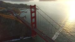 Sunset aerial shof of Golden Gate Bridge in San Fransisco, California Stock Footage