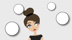 The animation business woman thinks on a gray background, Bubbleы appear Stock Footage