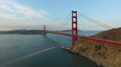 Golden Gate Bridge in San Fransisco, California, aerial shot Stock Footage