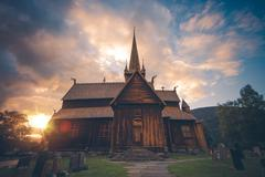 Lom Stave Church. Stave Church Situated in Lom Municipality Stock Photos