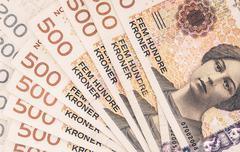 Pile of Norwegian Krone. Norwegian Currency Financial Background. Stock Photos