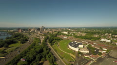 Hartford CT Aerial, downtown from the north Stock Footage