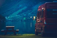 RV Camping at Night. Small Camper Van Overnight Camping. Kuvituskuvat