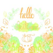 Hello Autumn Card with lettering Stock Illustration