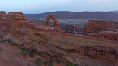 Aerial view of Delicate Arch at Arches National Park, Utah Stock Footage