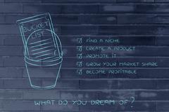 Bucket list with entrepreneur's niche business goals Stock Illustration