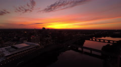Hartford CT Aerial, downtown, sunset 4 Stock Footage