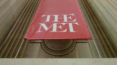 The Met Logo on Banner, Exterior, Metropolitan Museum of Art, Manhattan, NYC Stock Footage
