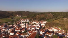 Odeceixe - Portuguese tourist town aerial view Stock Footage