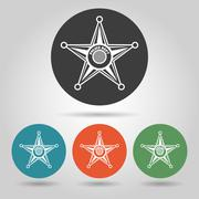 Sheriff star badge icons set Stock Illustration