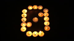 Tealight Candle Number Zero Stock Footage