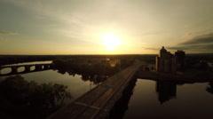 Hartford CT Aerial, East Hartford, sunrise Stock Footage